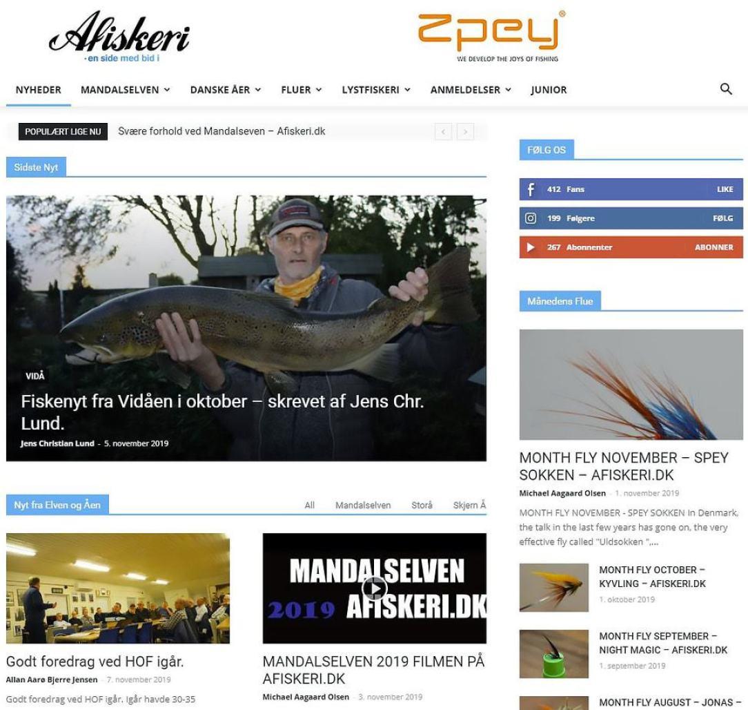 fiskerejser efter Laks, ørred og stør Klip af hjemmeside