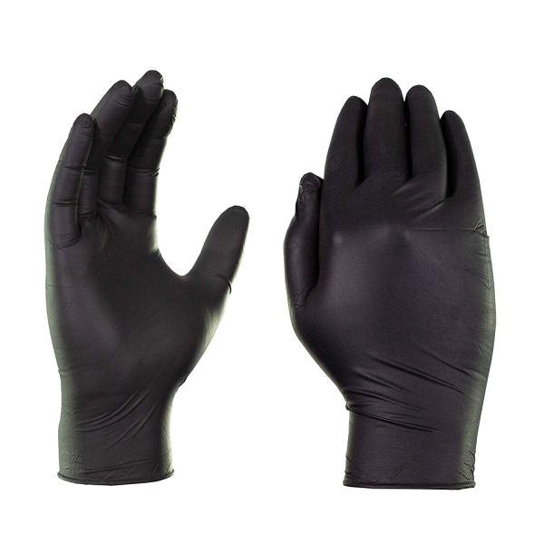 Ammex X3 Industrial Black Nitrile Gloves - 3 mil, Latex Free, Powder Free, Textured, Disposable, Medium, BX344100-BX, Box of 100