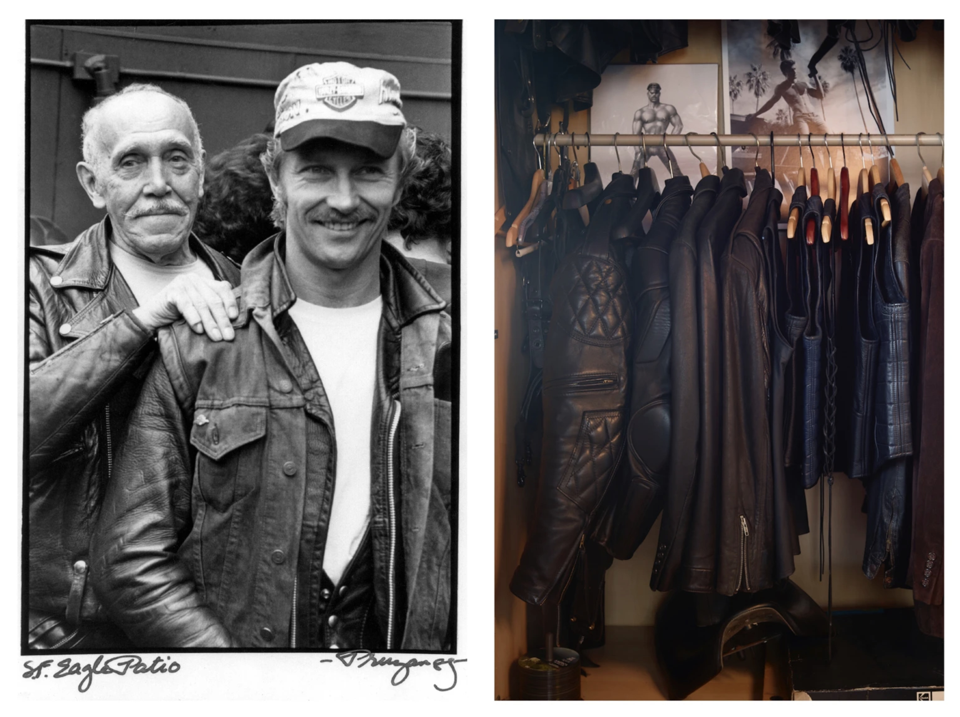 LEFT: LAAKSONEN AND HIS PROTÉGÉ DURK DEHNER AT A FUNDRAISER FOR THE FOUNDATION AT THE EAGLE IN SAN FRANCISCO, 1985. PHOTO: ROBERT PRUZAN. RIGHT: LEATHER JACKETS HANGING INSIDE TOM HOUSE, LOS ANGELES. PHOTO: MARTYN THOMPSON. AS FEATURED IN THE BOOK TOM HOUSE, PUBLISHED BY RIZZOLI.