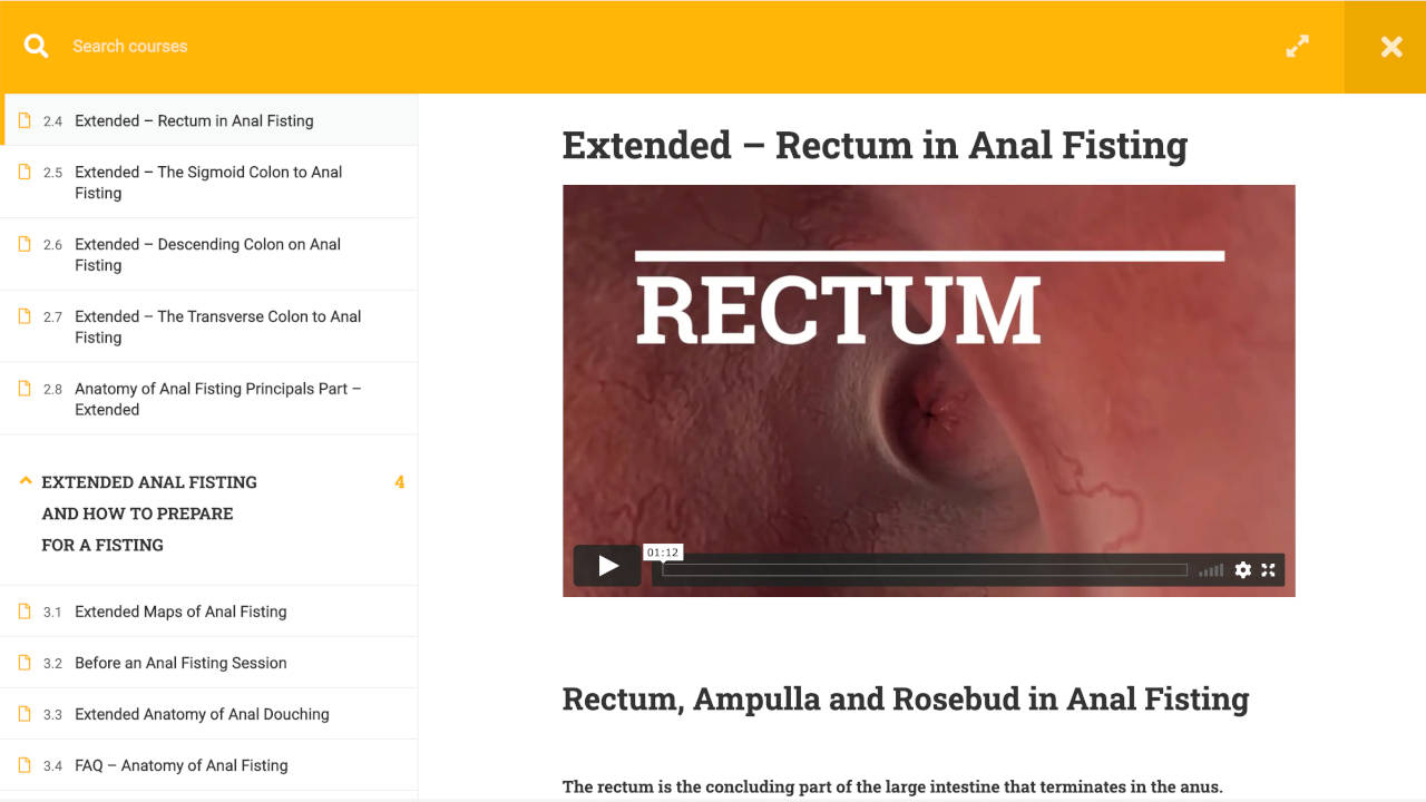 We will also take a tour of the course to watch your body inside the rectum with a video. In addition, interactive 3D animations and graphics.