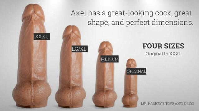 Mr. Hankeys Toys Axel Dildo sizes