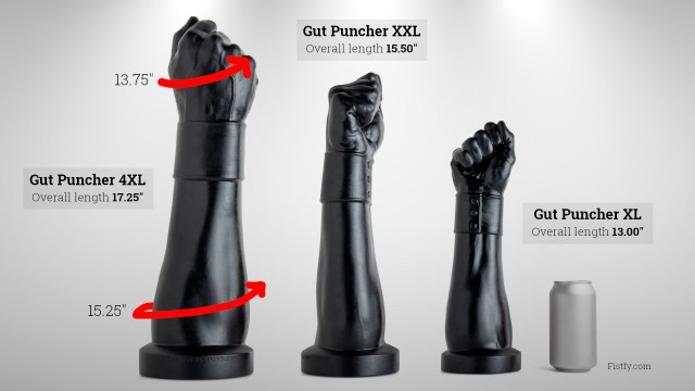 Mr. Hankey's Toys Gut Puncher fist dildo in sizes XL up to 4XL.