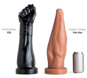 Mr. Hankeys Toys Gut Puncher XXL dildo VS. Stump N' Dump dildo