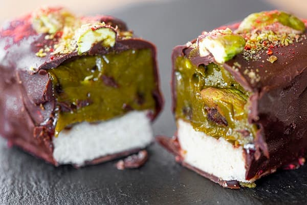 barre pistache framboise vegan