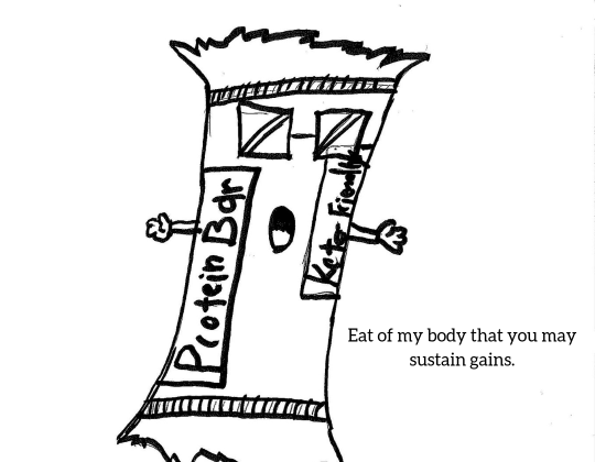 "A protein bar with glasses and hands, yelling to ""eat his body to sustain gains"" on a white background"