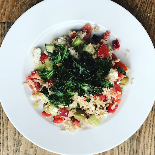 healthy-lunch-rice-salad-feta-crispy-kale