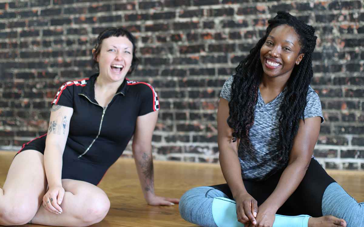 Fit and Bendy Stretching Advice Two Women Laughing Fitness Studio