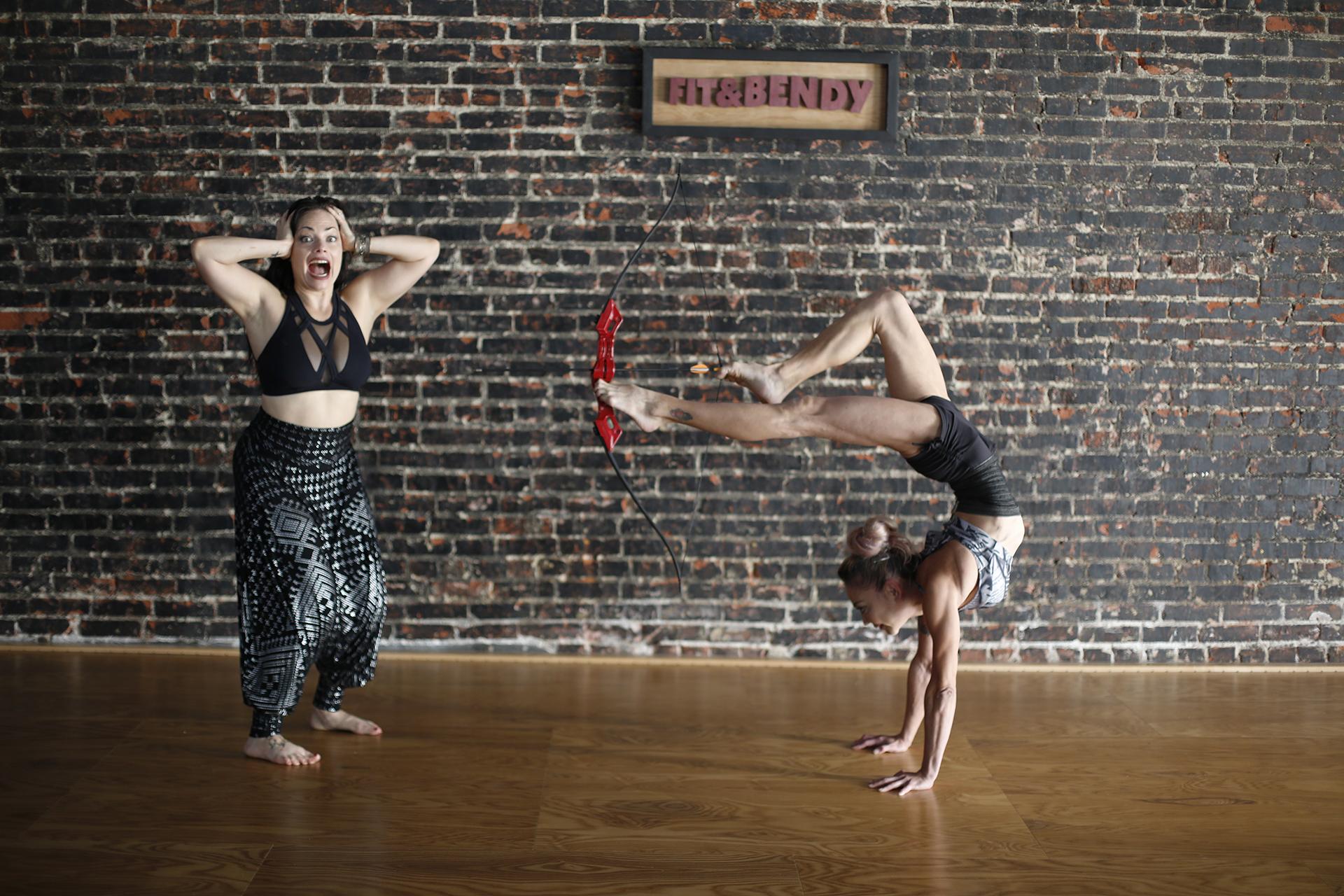 Kristina Nekyia Bow Arrow Contortion Women Studio Brick Wall Wood Floor Screaming Fit and Bendy