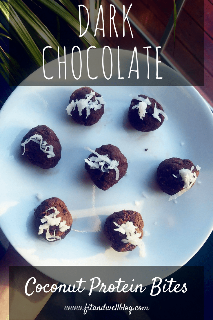 dark chocolate coconut protein bites-made with vegan protein