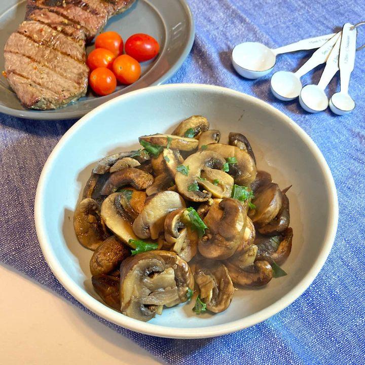sauteed mushrooms in bowl