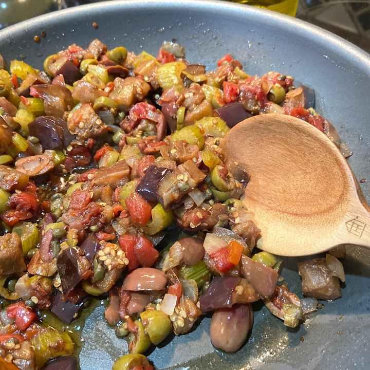 pan of eggplant caponata ready to serve