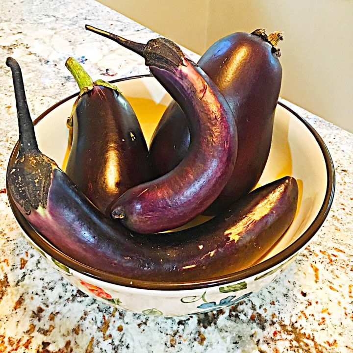 bowl of different types of eggplant