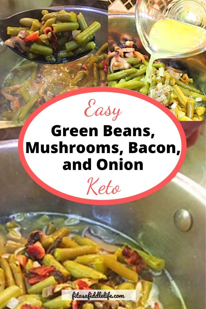 Easy, quick green bean dish prepared from pantry staples. Add flavor, fat, fiber to keto meals.