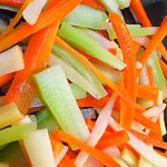 Simple, colorful julienned vegetables for the Mediterranean Diet.