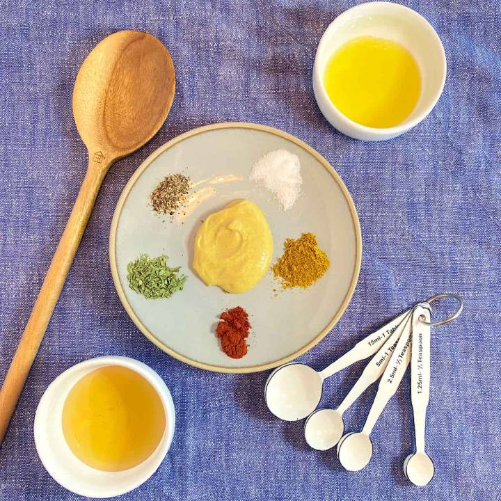 spread of measured honey mustard chicken sauce ingredients