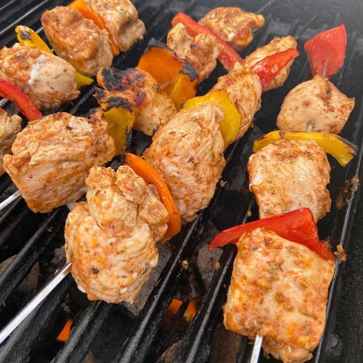 Tasty grilled chicken kabobs