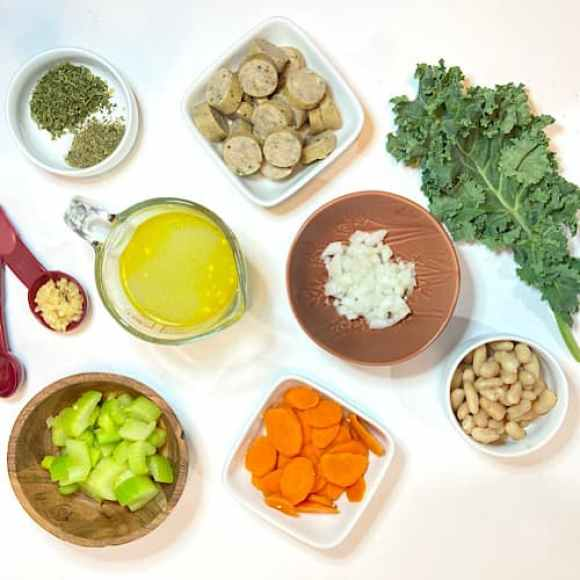 spread of soup ingredients
