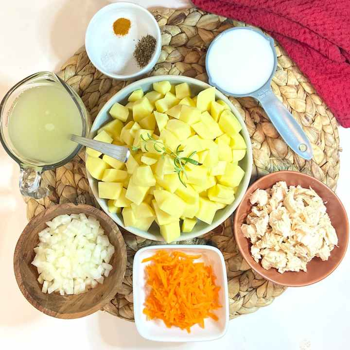 Spread of measured ingredients for chicken potato soup