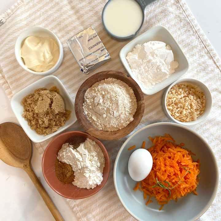 spread of measured carrot cake ingredients