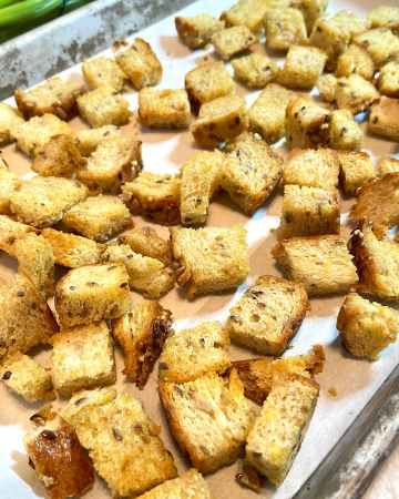 homemade croutons on baking tray
