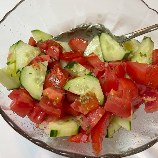 tomato cucumber salad in bowl