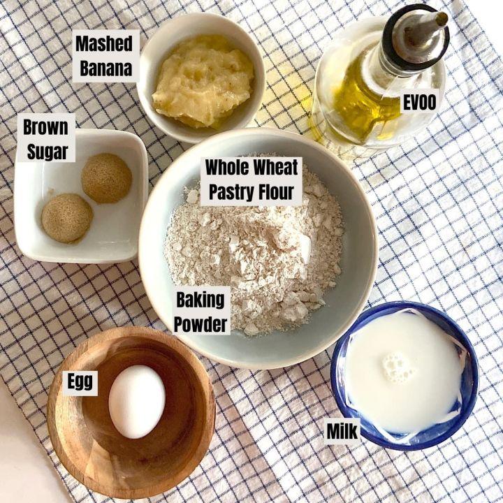 measured ingredients for pancakes