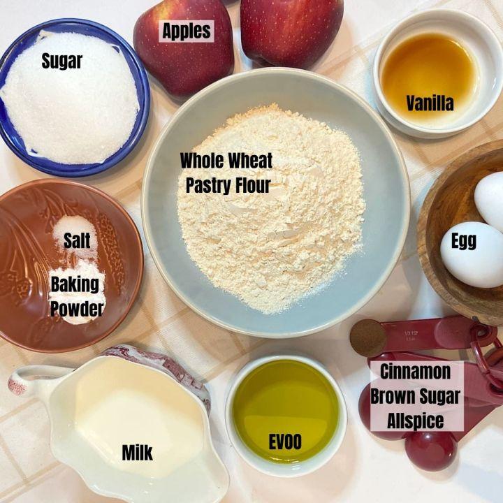 Measured ingredients for easy apple cake.