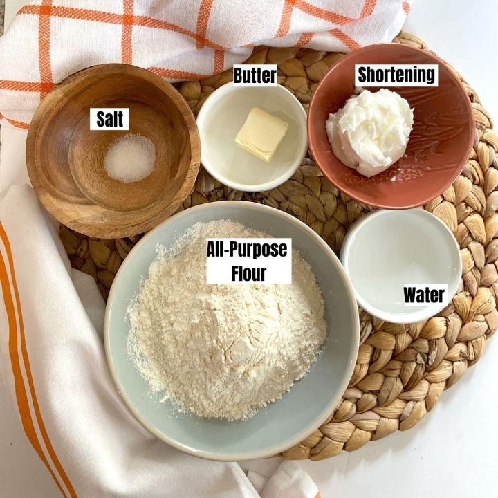 measured ingredients for pie crust
