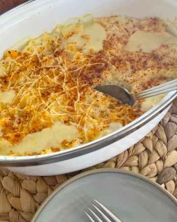 turkey shepherds pie in a pan