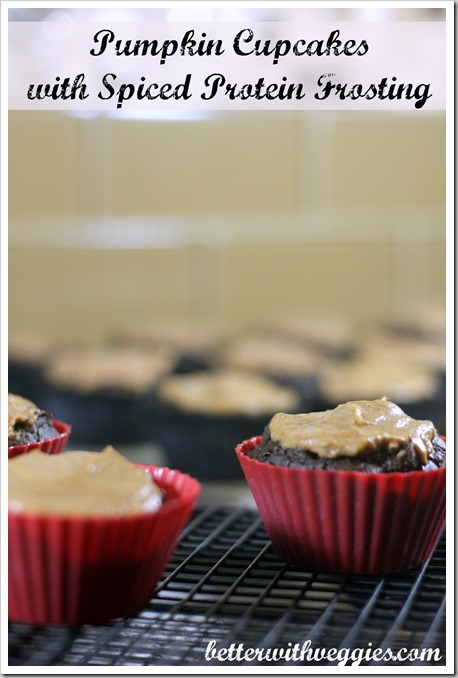 Pumpkin Cupcakes with Spiced Protein Frosting
