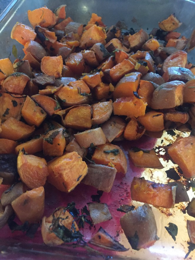 Sweet potato with garlic and cilantro