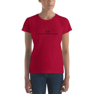 Straight-Faced Young Woman Wearing Red Branded Female Fit Body Toddy Fitness T-Shirt