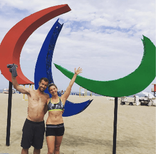 Whitney Small & Paul Barr on beach in Rio