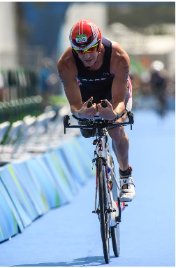 Mark Barr, team USA, competing in the triathalon at the Rio paralympics
