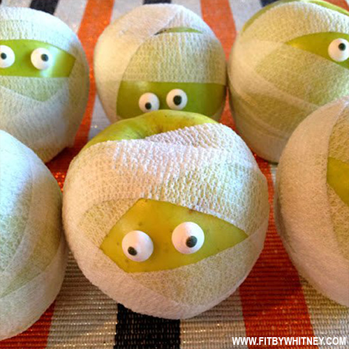 Healthy Halloween Treats - Kids Mummified Apples