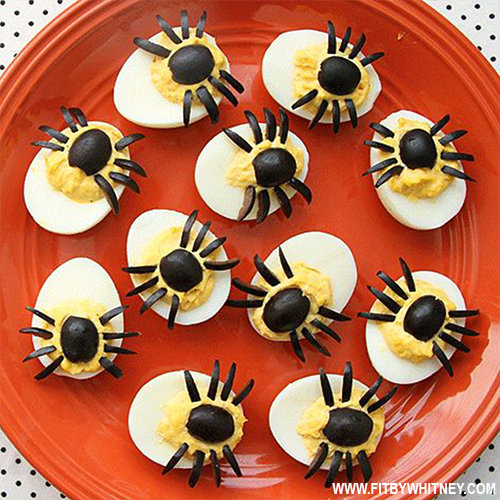 Healthy Halloween Treats - Spider Deviled Eggs