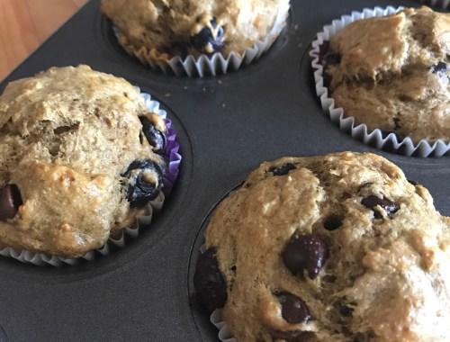 Muffins aux bleuets et matcha
