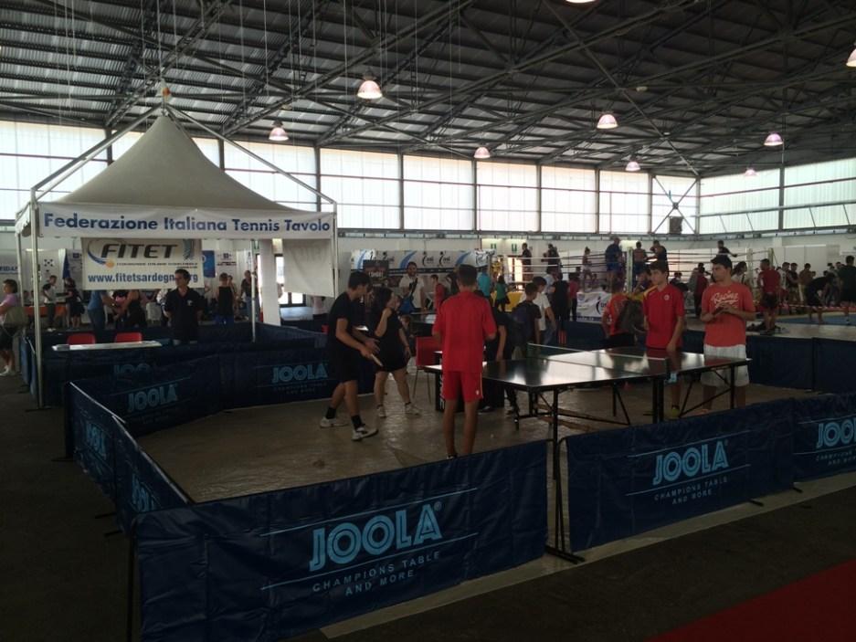 Un'esibizione di tennistavolo durante il Turisport 2014