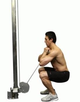 cable squats variations- goblet cable squats