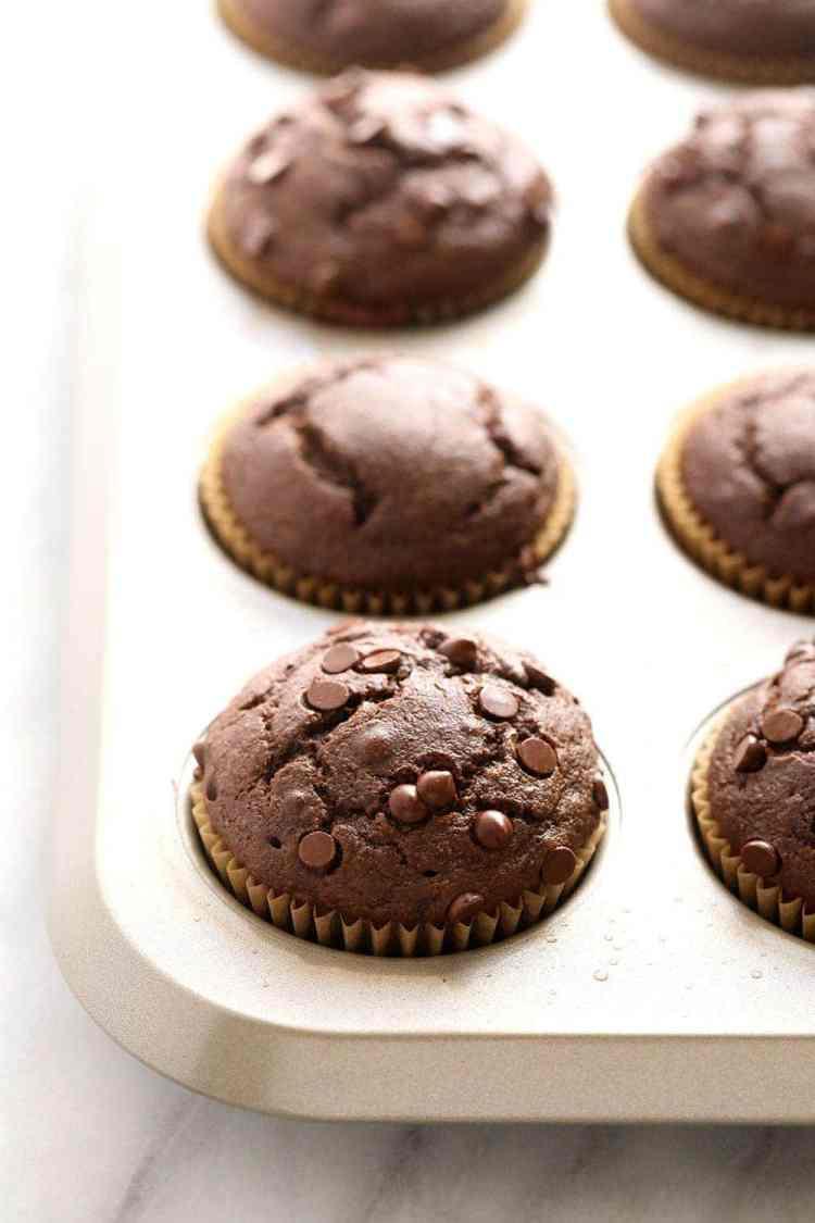 chocolate pb muffins in muffin tin