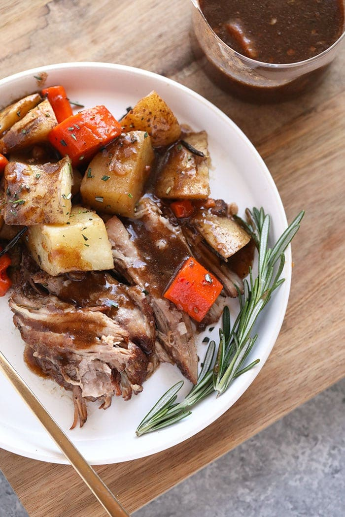 Instant Pot Pork roast and vegetables on a plate