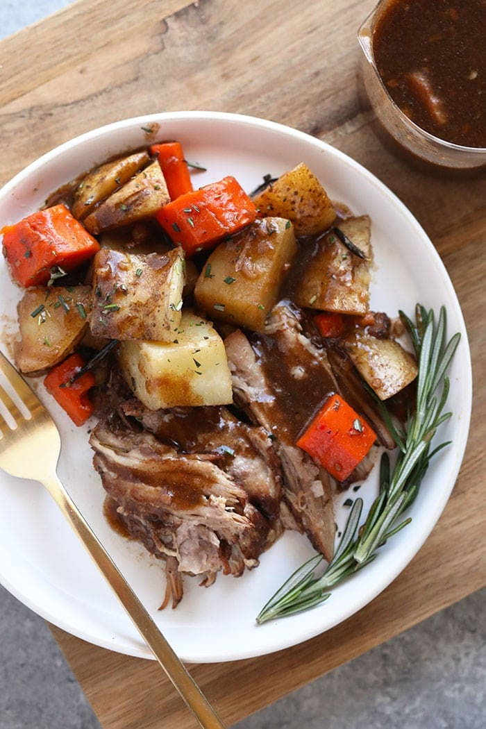 Pork and vegetables on a plate