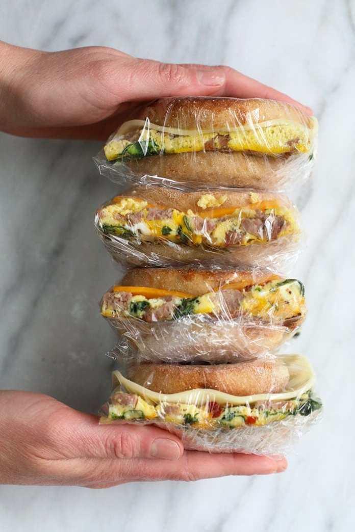 freezer breakfast sandwiches wrapped in plastic wrap