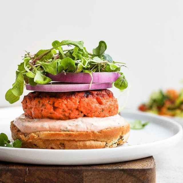 salmon burgers on a plate