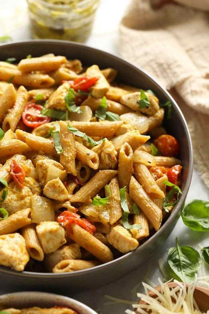 pesto chicken pasta in a bowl