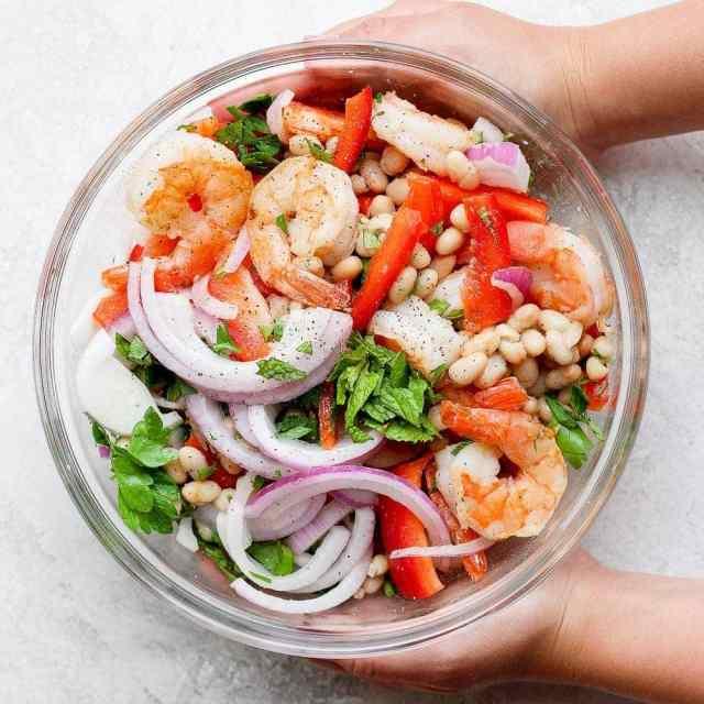 healthy shrimp salad in a bowl