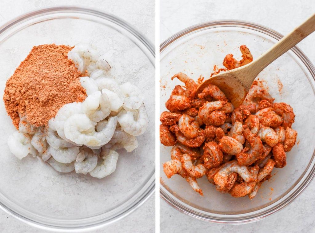 raw shrimp are coated with taco seasoning