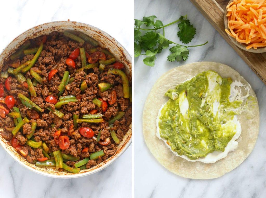 Spread the chicken quesadilla ingredients on a tortilla