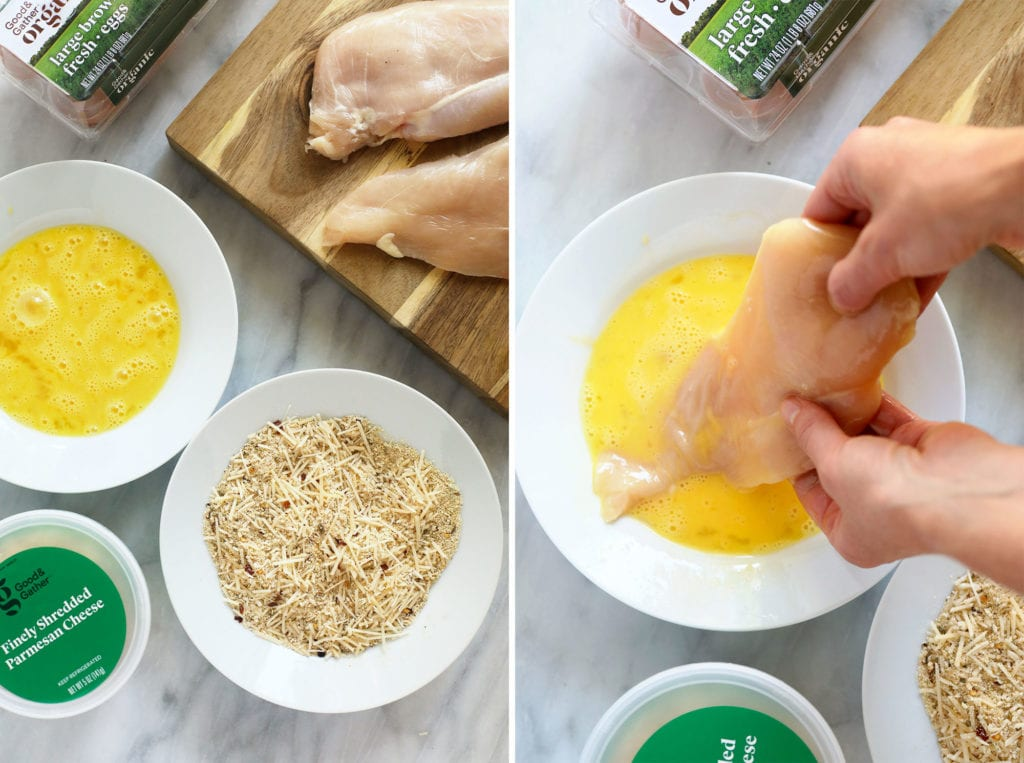 dipping chicken in egg