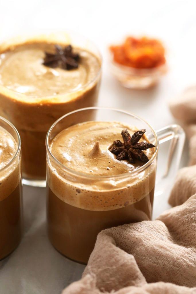 Hot Dalalgona coffee in mugs.